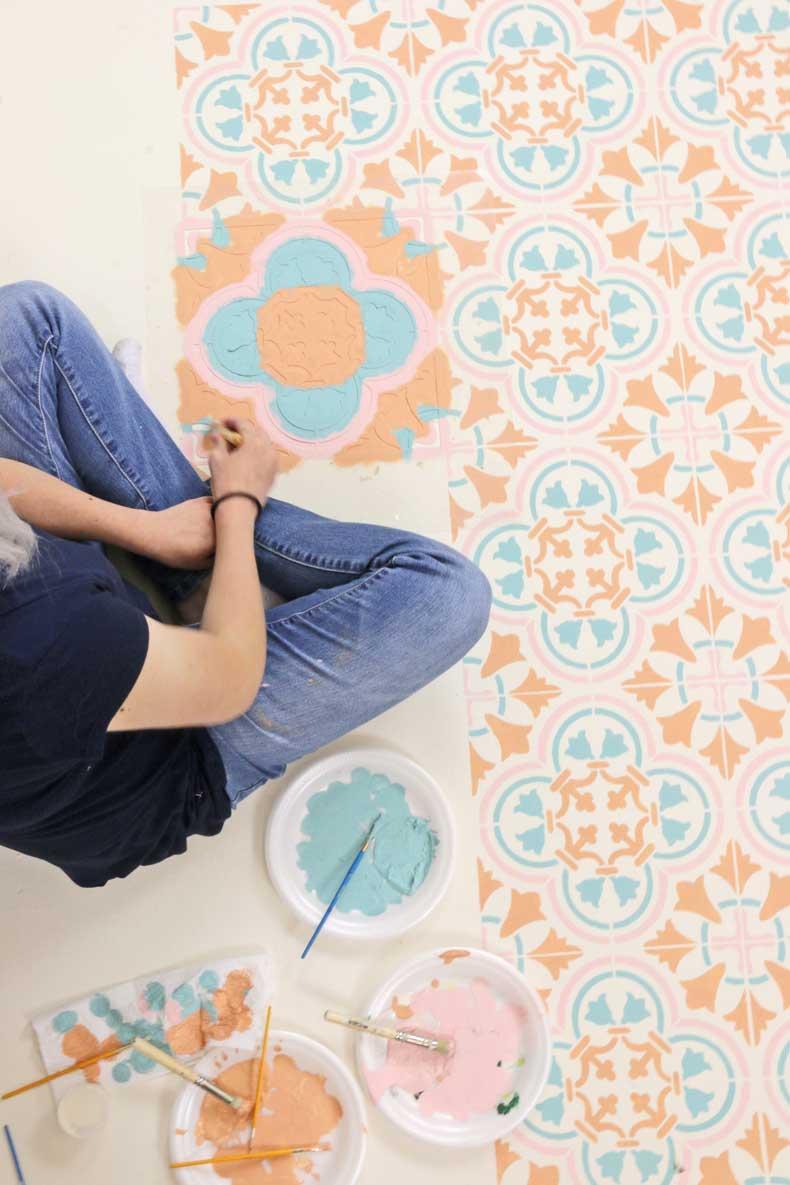 stenciled pastel tile floor in progress