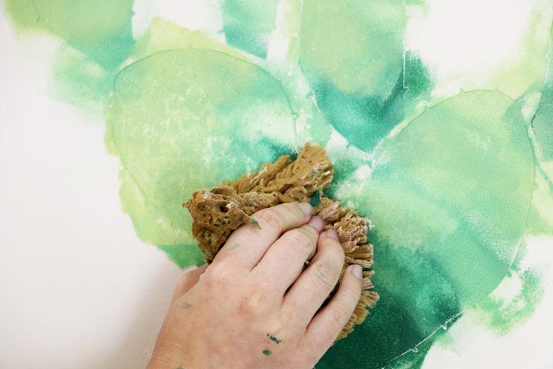 blend paint damp sponge