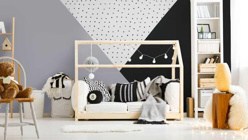 stenciled geometric nursery wall boy