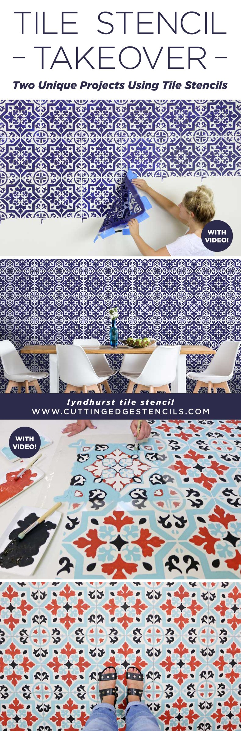 tile stenciled floor and accent wall