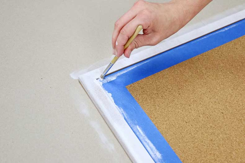 prime cork board stencil brush