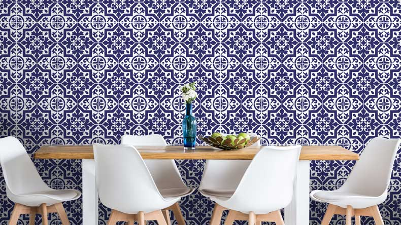 navy tile stenciled accent wall final kitchen