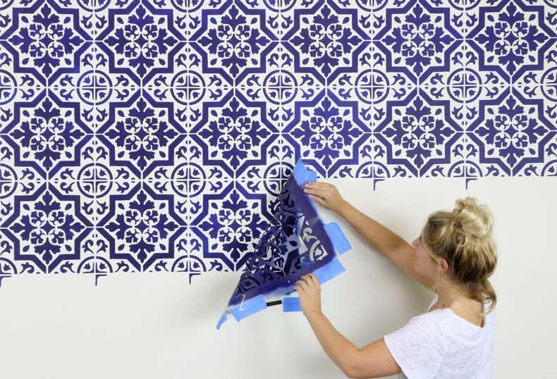 navy tile stenciled wall peel