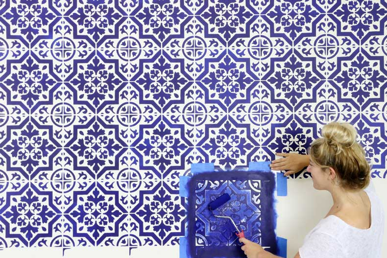 navy tile stenciled accent wall rolling paint