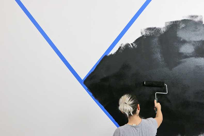 stenciled geometric nursery wall black paint