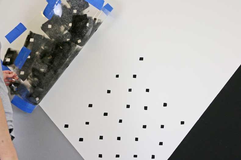 stenciled geometric nursery wall alignment