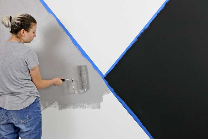 stenciled geometric nursery wall grey paint