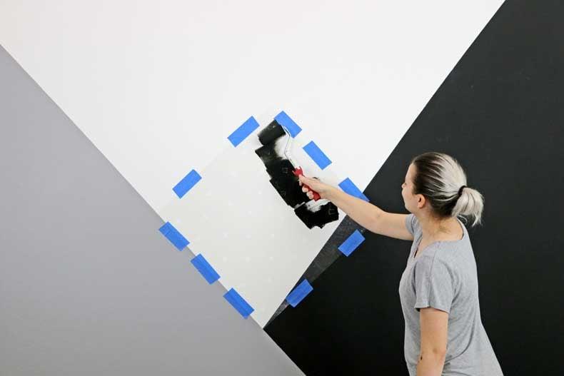 stenciled geometric nursery wall stencil