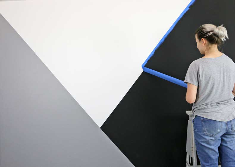 stenciled geometric nursery wall peel tape