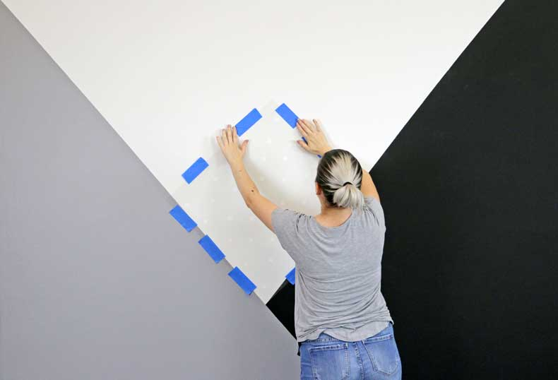 stenciled geometric nursery wall placement