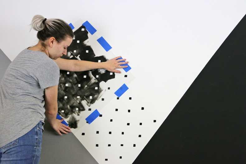 stenciled geometric nursery wall align