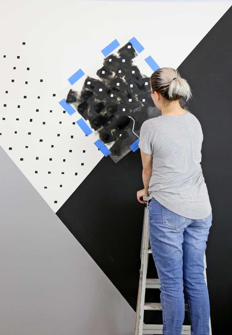 stenciled geometric nursery wall stenciling