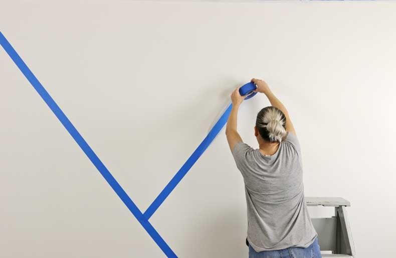 stenciled geometric nursery wall tape