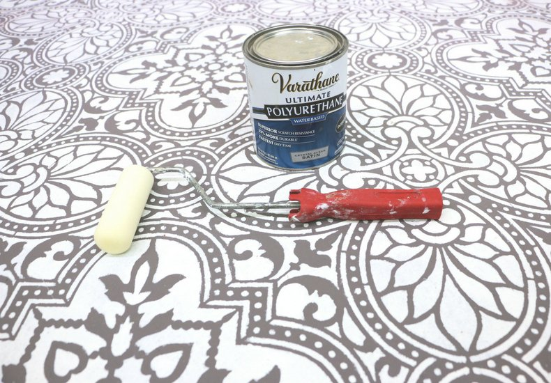 stenciled alatera tile floor polyurethane