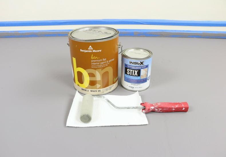 stenciled alatera tile floor primer