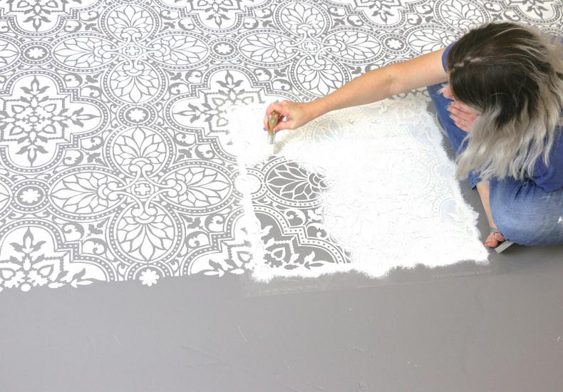 stenciled alatera tile floor still stenciling