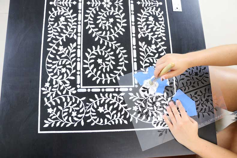 stenciled ikea table inlay extra leaves