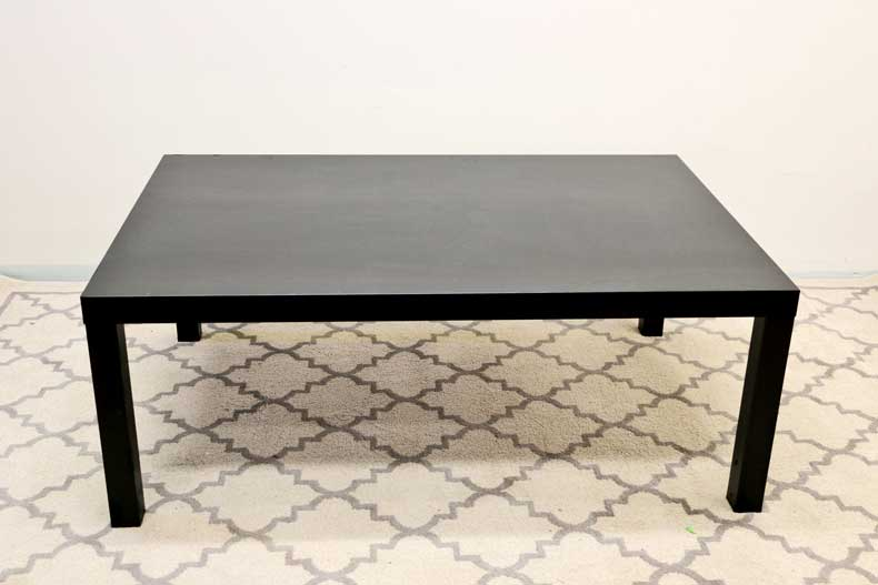 stenciled ikea table inlay before