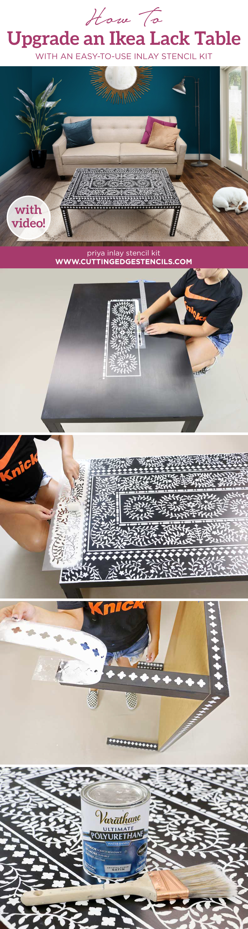 stenciled ikea table inlay collage