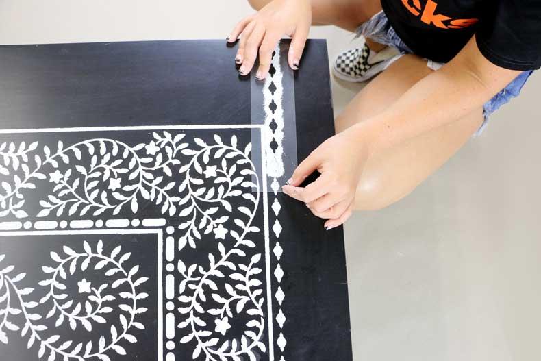 stenciled ikea table inlay inner border