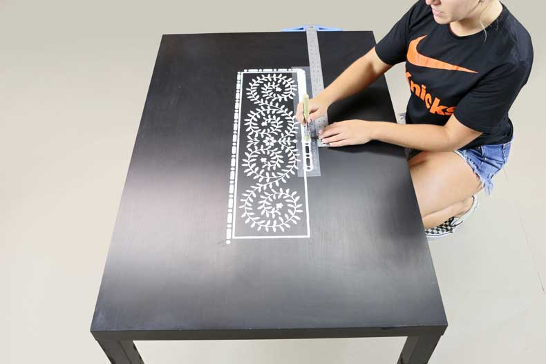 stenciled ikea table inlay first border