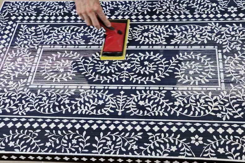 stenciled ikea table inlay apply polyurethane