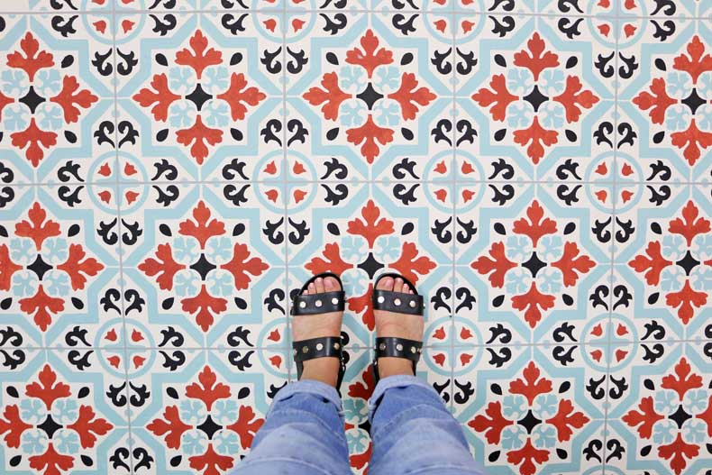 teal stenciled tile floor final