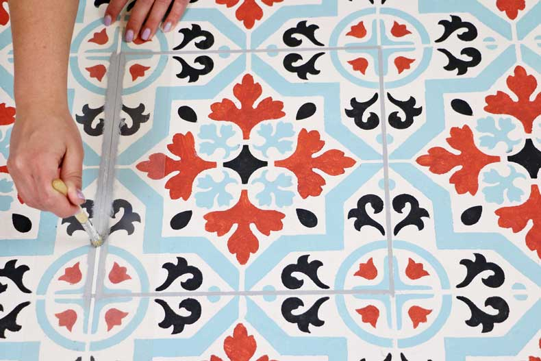 teal stenciled tile floor grout lines continued