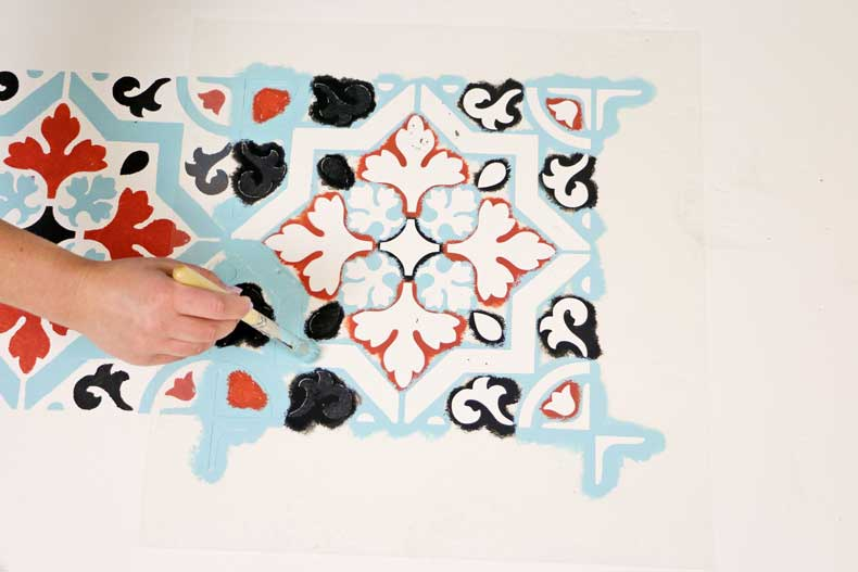 teal stenciled tile floor paint