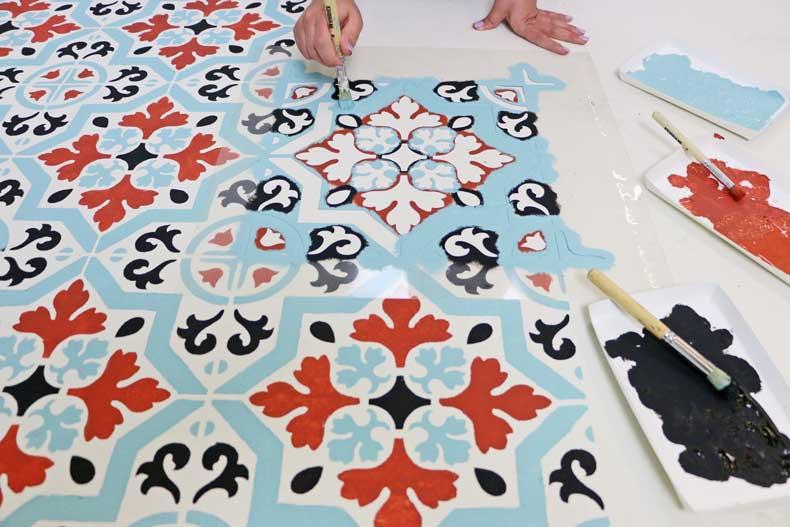 teal stenciled tile floor stenciling