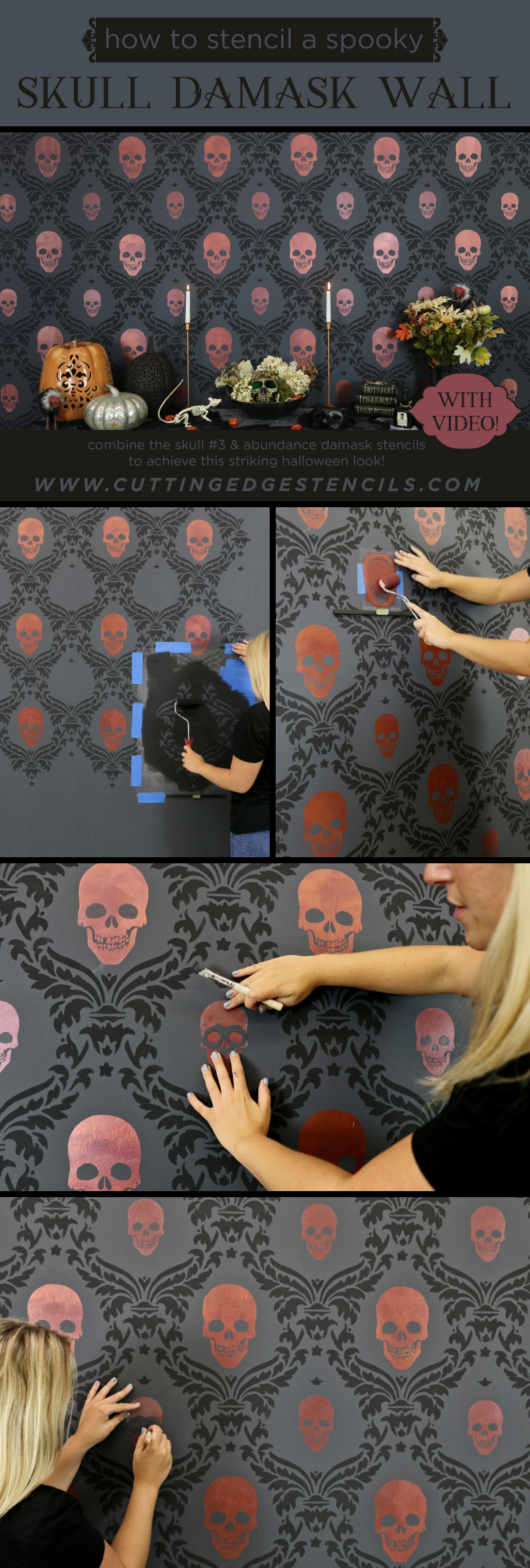 stencil halloween skull feature wall collage