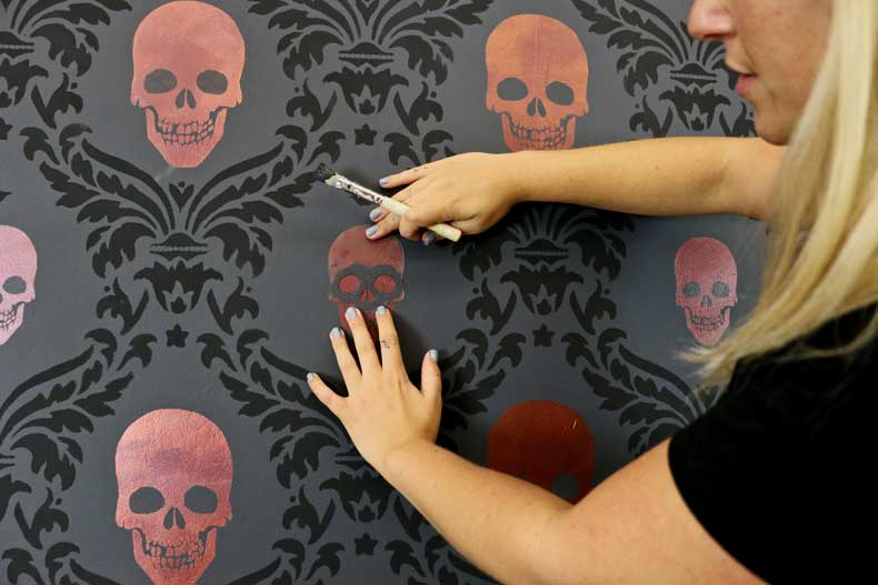 stencil halloween skull accent wall place eyes