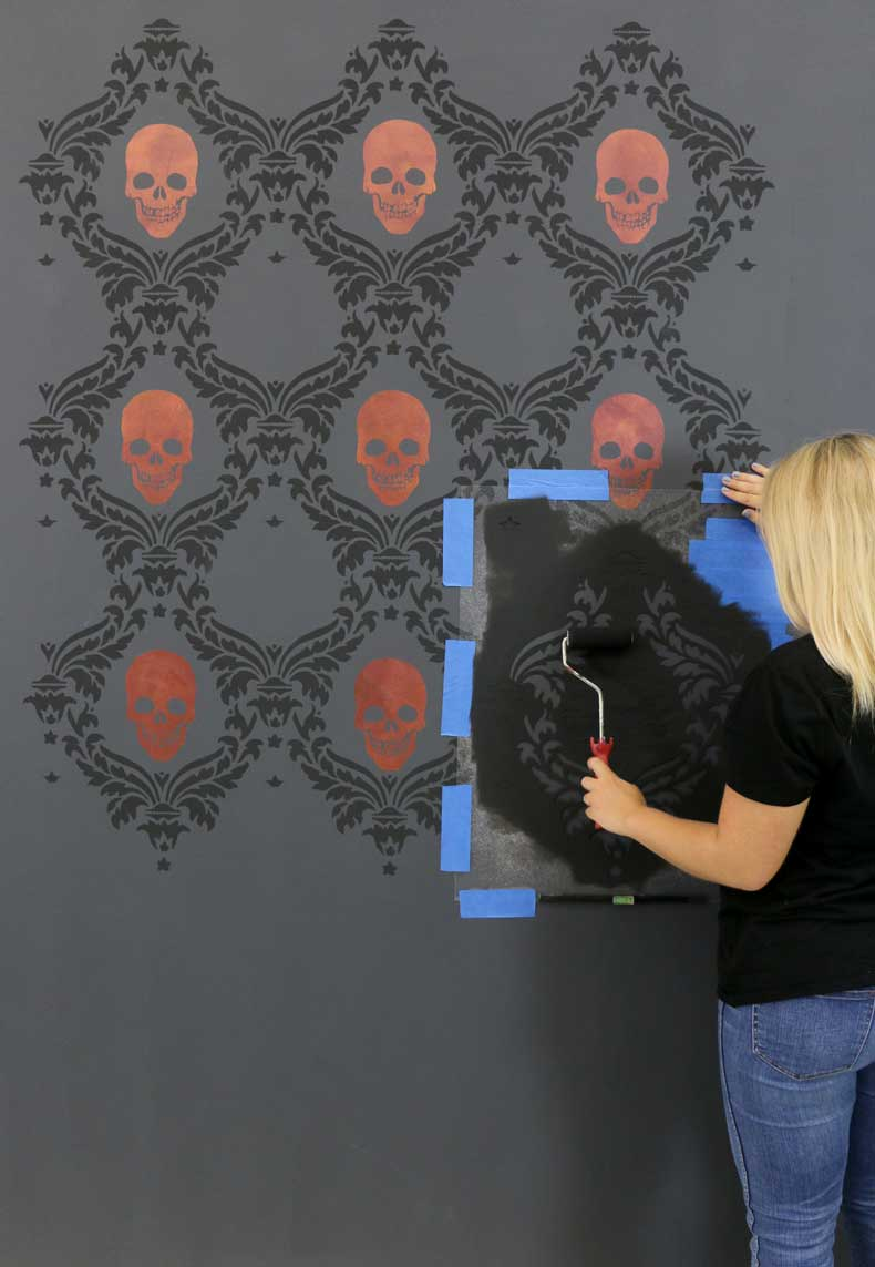 stencil halloween skull feature wall stencil damask