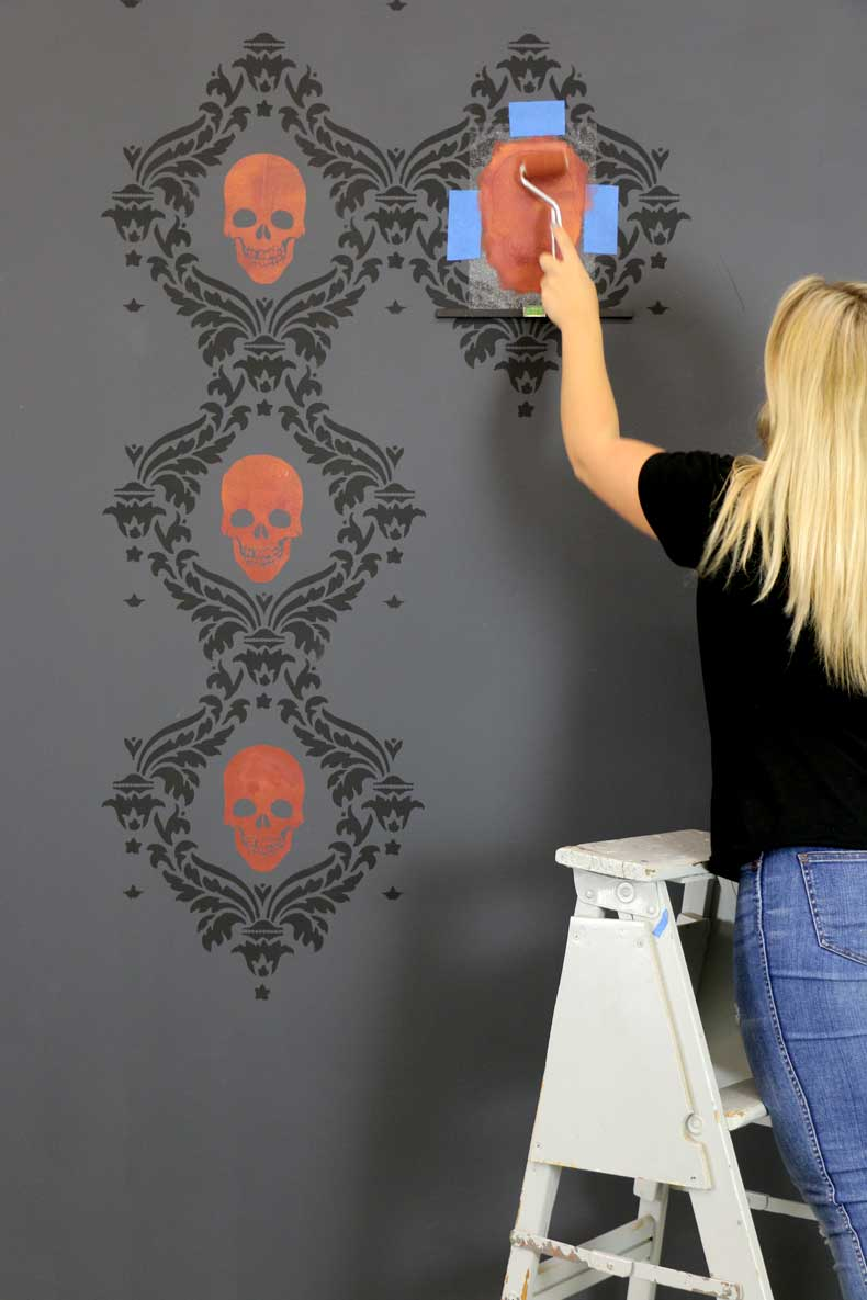 stenciled halloween skull feature wall stencil large skull