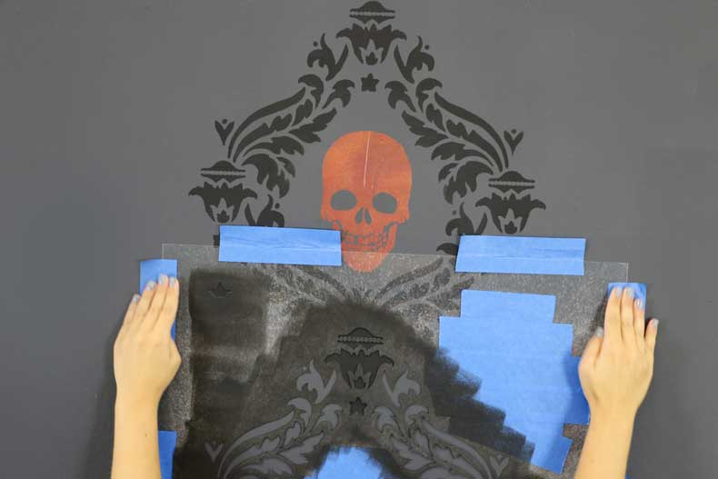 stenciled halloween skull feature wall align