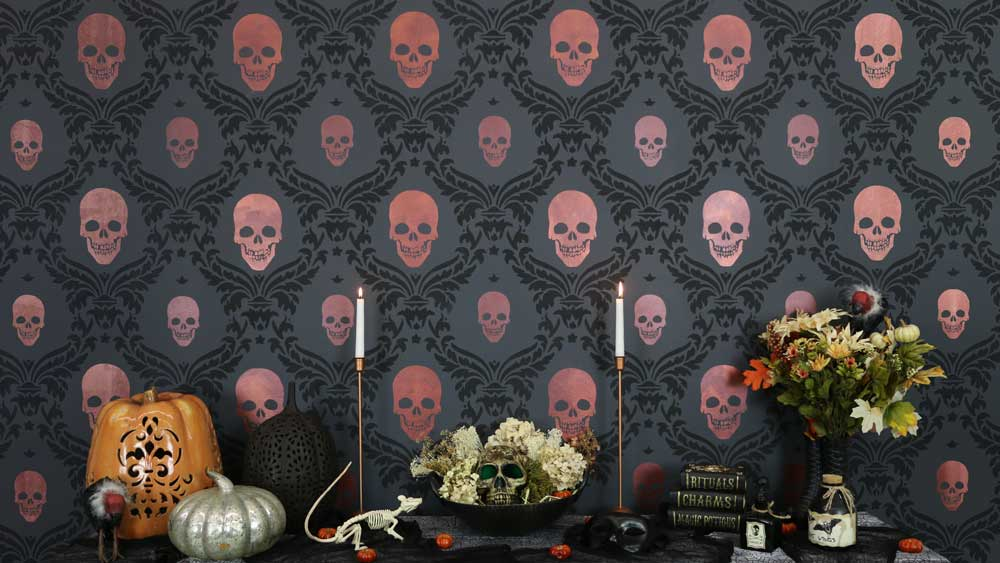 stenciled halloween skull feature wall final