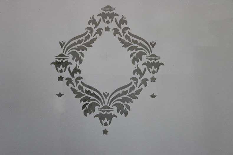 stencil halloween skull feature wall damask