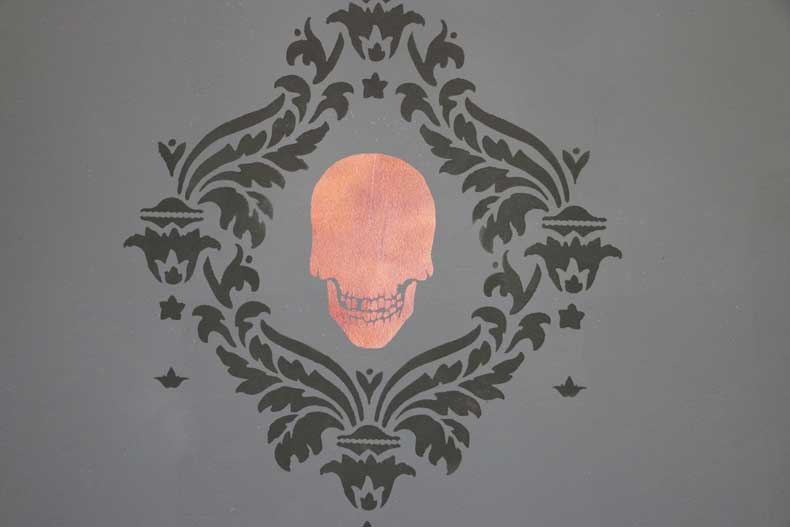 stencil halloween skull feature wall skull damask