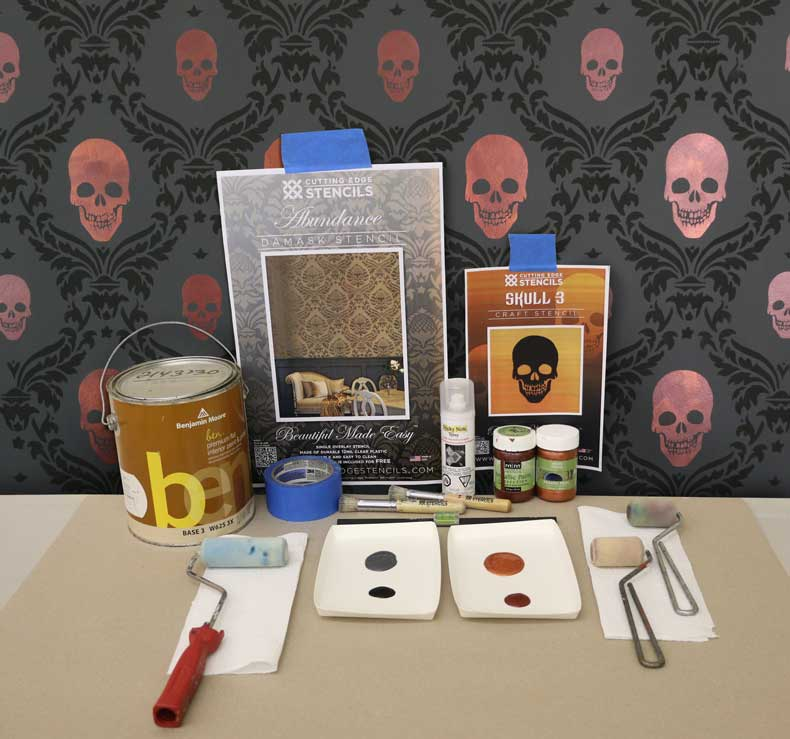 stenciled halloween skull feature wall products