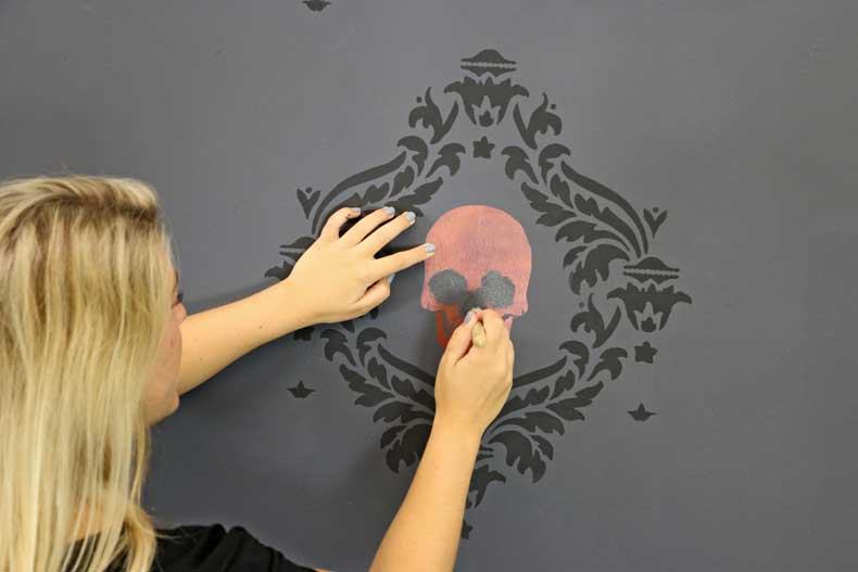 stenciled halloween skull feature wall stencil eyes nose