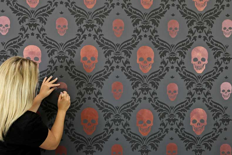 stenciled halloween skull feature wall final skull