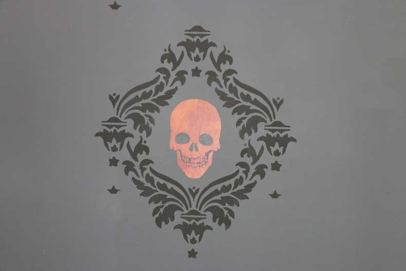 stenciled halloween skull feature wall stencil skull damask