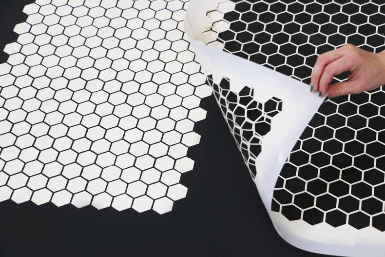 stencil personalized tile floor align