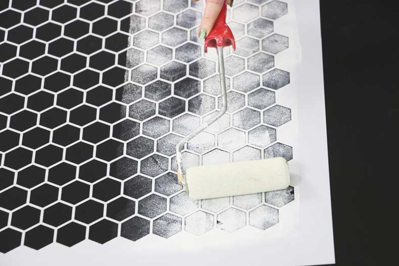 stencil personalized tile floor roll paint