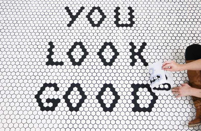 stencil personalized tile floor final peel