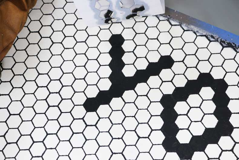 stencil personalized tile floor first row
