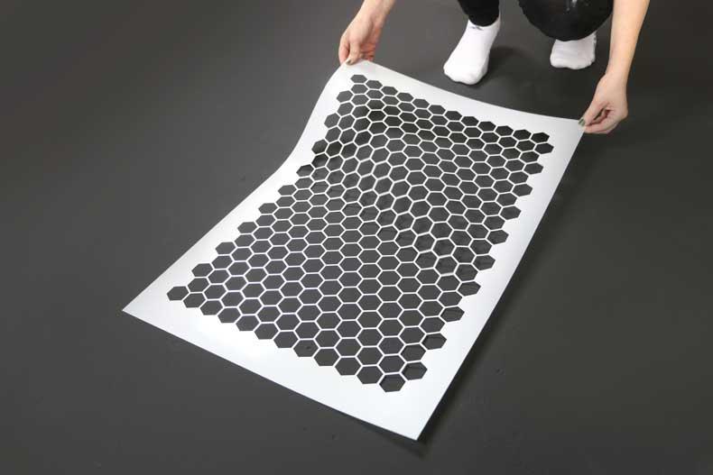 stencil personalized tile floor placement