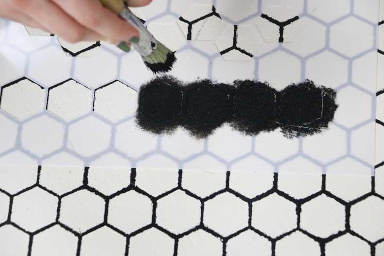 stencil personalized tile floor pounce paint