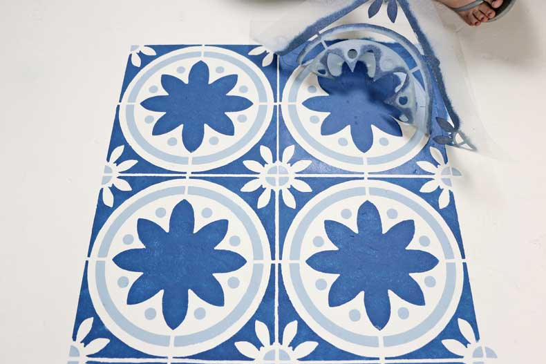 simple stenciled tile floor final peel