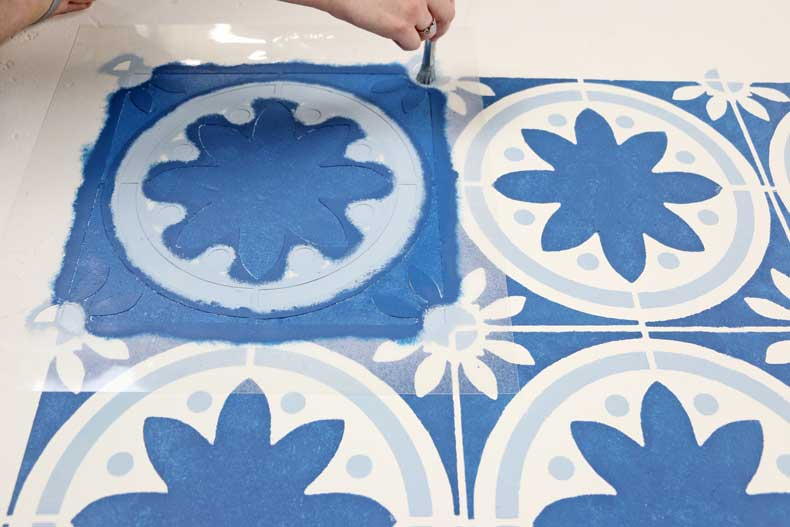 simple stenciled tile floor final stencil